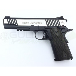Réplique de colt 1911 rail gun co2 bicolore