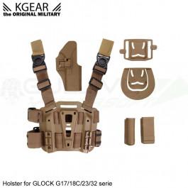 Holster à rétention avec plaque de cuisse pour type Glock - TAN - Droitier