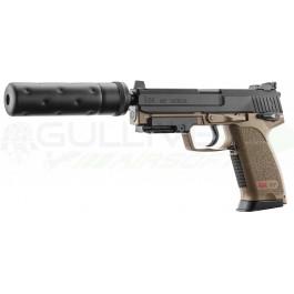 Réplique de poing HK USP Tactical tan avec silencieux