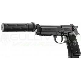 Réplique de poing Beretta M92 A1 Tactical noir avec silencieux