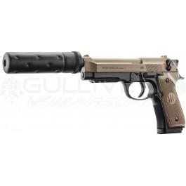 Réplique de poing Beretta M92 A1 Tactical noir/tan avec silencieux