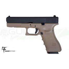 Réplique de poing GBB type Glock 17 Metal Tan Saigo/KJW