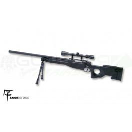 Réplique SPRING Sniper L96 Noir avec lunette et bi-pied Saigo/WE